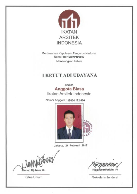 Indonesian Institute Of Architect, Member Number 17404-172-600
