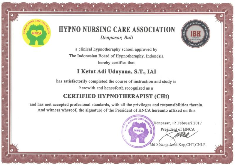 Certified By Hypno Nursing Care Association (HNCA) For Certified Hypnotherapist (CHt)