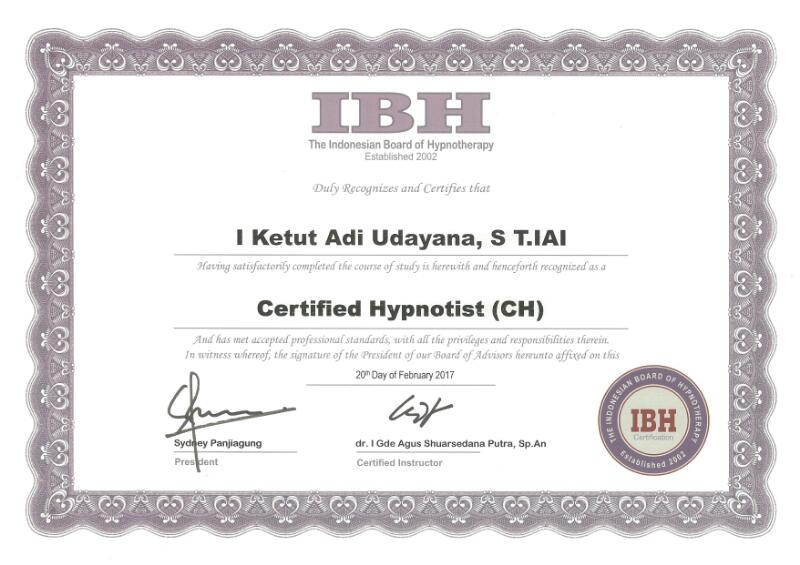 Certified By The Indonesian Board Of Hypnotherapy (IBH) For Certified Hypnotist (CH) Member Number 22201