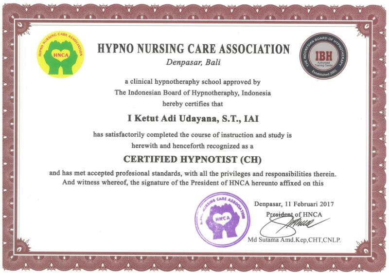 Certified By Hypno Nursing Care Association (HNCA) For Certified Hypnotist (CH)